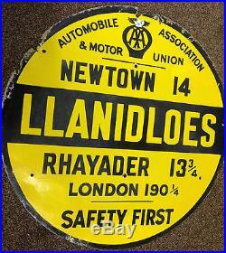Vintage Enamel Sign Aa Road Sign Llanidloes Vintage Automobilia Sign