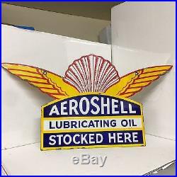 Vintage Enamel Sign Aeroshell Lubricating Oil Stocked Here #1025