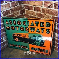 Vintage Enamel Sign Associated Motorways Double Sided- #3623 Sn 78