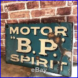 Vintage Enamel Sign Bp Motor Spirit Enamel Sign #1750