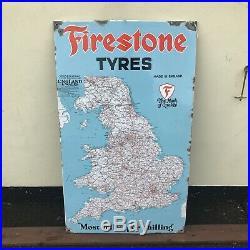 Vintage Enamel Sign Firestone Map #3668