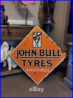 Vintage Enamel Sign John Bull Tyres & Accessories