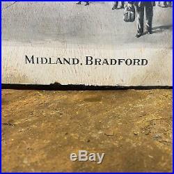 Vintage Enamel Sign Midland Railways Station Advertising #4388