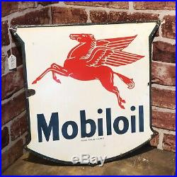 Vintage Enamel Sign Mobiloil 1950's #3588
