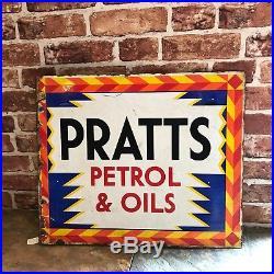 Vintage Enamel Sign Pratts Double Sided Sign Garage Sign #1749
