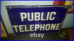 Vintage Enamel Sign Public Telephone