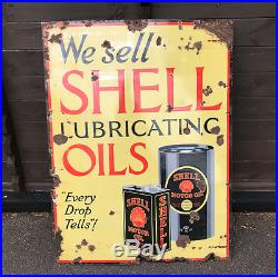 Vintage Enamel Sign Shell Lubricating Oils Sign 1920's #1604