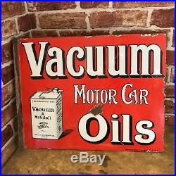 Vintage Enamel Sign Vacuum Motor Car Oil Sign Automobilia #2657 Sn21