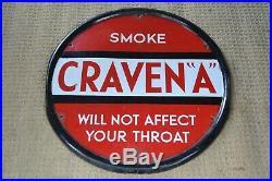 Vintage Enamel sign Craven A disc round sign