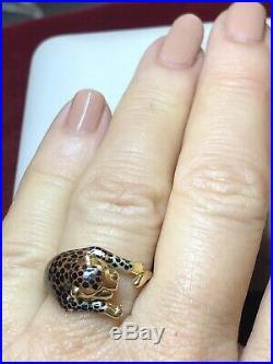 Vintage Estate 14k Gold Lion Enamel Ring Designer Signed Slc Panther
