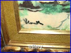 Vintage French Artist Painting Enamel on Copper Street Scene Signed Vlaminck