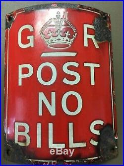 Vintage G R Red Enamel Sign Post No Bills Antique Advertising