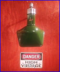 Vintage Goodrich Green Porcelain Enamel Angled Sign Light WIRED Gas Station