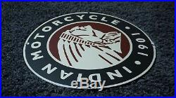 Vintage Indian Motorcycle Porcelain Metal Enamel Sign Gas Oil Station Dealer Ad