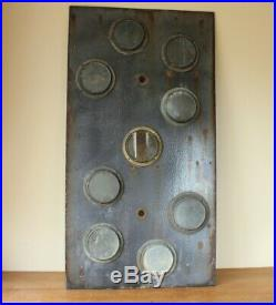 Vintage Large French Railway Letter S Enamel Sign. Train Glass Disc Reflectors