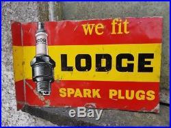 Vintage Lodge Spark Plug Tin Sign Can Garage Workshop Automobilia Enamel Oil