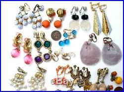Vintage Lot 20 Pair of Clip on Dangle Earrings Rhinestones Signed Coro Beads