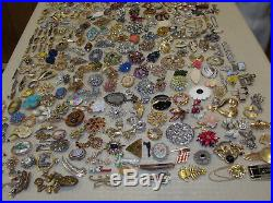 Vintage Lot 310 Brooches Pins 106 Signed Rhinestones Enamels Lucite Free Ship