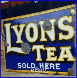 Vintage Lyons Tea double sided enamel Advertising Sign