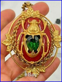Vintage Miriam Haskell Signed Larry Vrba Scarab Beetle Necklace Pendant