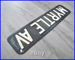 Vintage New York City Enamel Metal Street Sign Myrtle Avenue Brooklyn