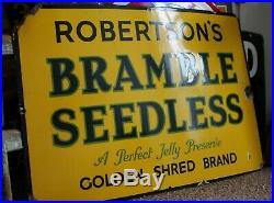 Vintage ORIGINAL Old Metal Advertising Enamel Shop Sign, ROBERTSONS BRAMBLE seed