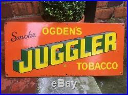 Vintage Ogden's Juggler Tobacco Enamel Advertising Sign Railway Station Platform
