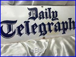 Vintage Old Original Enamel Daily Telegraph Newspaper Advertising Plaque Sign