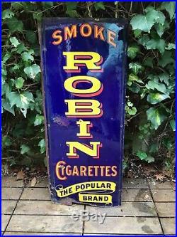 Vintage Original Enamel Advertising Sign Robin Cigarettes