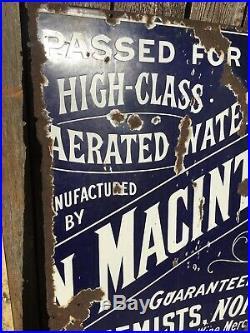 Vintage Original Enamel Metal Sign 38x 30 Macintyre & Co