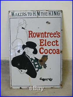 Vintage Original Enamel Rowntrees Elect Cocoa Advertising Sign