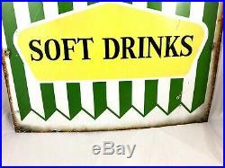 Vintage Original Large Enamel R Whites Lemonade Soft Drinks Advertising Sign