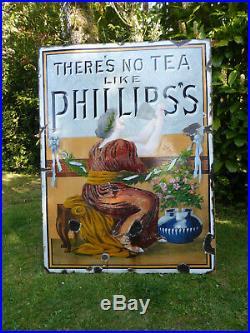 Vintage Original Large Enamel Sign Phillip's Tea