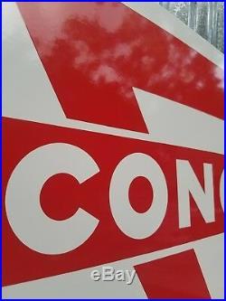 Vintage Original NOS Conoco Super Motor Oil Double Sided Porcelain Enamel Sign