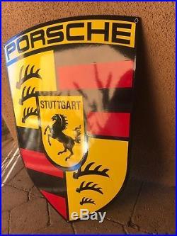 Vintage Porsche Porcelain Dealer Dealership Enamel Sign 24 x 18