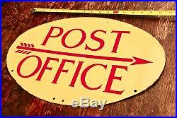 Vintage Post Office enamel metal advertising garage sign British pillar box top