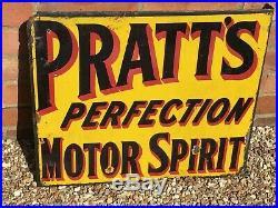 Vintage Pratt's Perfection Motor Spirit double sided Ad. Enamel Sign Petroliana