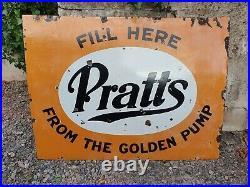 Vintage Pratts Golden Pump Enamel Sign- Automobilia Motoring Garage Collectable