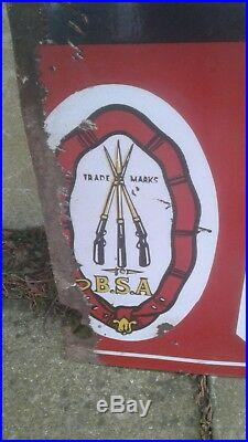 Vintage Rare B S A(ride A Motor Bicyle)enamel Sign (original) With Logo