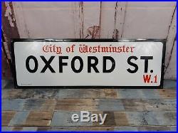 Vintage Rare Original 1950's Enamel Oxford Street London W1 Street Road Sign