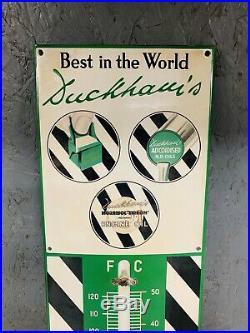 Vintage Sign Enamel Thermometer Duckhams Adcoids Automobilia Petrol Oil Can Tin