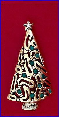 Vintage Signed AJC Christmas Tree Tied on Gold Car Enamel Pin Brooch RARE! RETRO