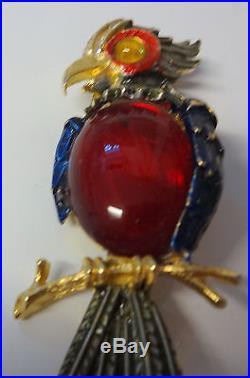 Vintage Signed ART Enamel Jelly Belly Rhinestone Bird Parrot Pin Brooch