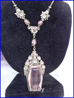 Vintage Signed Czech Pink Dangle Earrings Enamel Gold Gilt Filigree Necklace Set