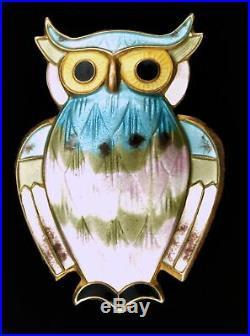 Vintage Signed David Andersen Norway Sterling Silver Guilloche Enamel Owl Brooch