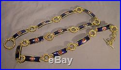 Vintage Signed Gucci Made in Italy Enameled Goldtone Chain Link Belt 34 Long