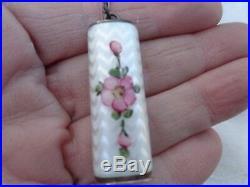 Vintage Signed Lamode Sterling Enamel Floral Compact Lipstick Finger Ring Case