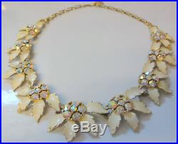 Vintage Signed Lisner Rhinestone Enamel Flowers Necklace RARE