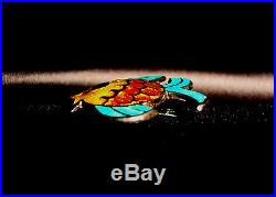 Vintage Signed Margot De Taxco Sterling Silver Enamel Colorful Tropical Fish Pin