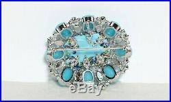 Vintage Signed Schreiner New York Pendent / Brooch Enameled Center Glass Beads